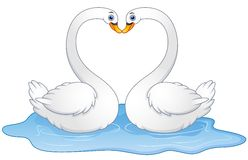 Cartoon couple swans lover kissing. Illustration of Cartoon couple swans lover kissing Royalty Free Stock Image