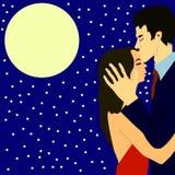 Cartoon couple under the Moon royalty free illustration