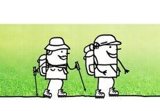 Cartoon couple walking hikers. Illustration Royalty Free Stock Images