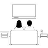 Cartoon couple watching TV Royalty Free Stock Photography