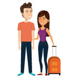 Cartoon couple with woman brunette and man with travel luggage Royalty Free Stock Photo