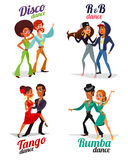 Cartoon of a couples dancing tango, rumba, disco and hip hop Stock Images