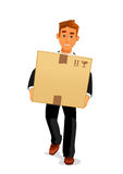 Cartoon courier delivering a parcel to recipient. Delivery service, postal carrier or postman professions design. Elegant young man cartoon character in black Royalty Free Stock Photography