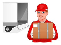Cartoon courier and truck Stock Images