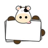 Cartoon cow. Funny cow holding blank label isolate in white Royalty Free Stock Images