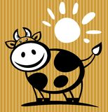 Cartoon cow. And sun isolated on a striped background Stock Photography