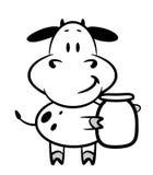 Cartoon cow. With a jar of milk Stock Photography