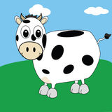 Cartoon cow 2. Cartoon illustration of spotted cow smiling on a field royalty free illustration