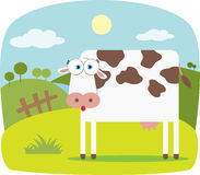 Cartoon Cow. With Big Eye with farm on the background Stock Photography