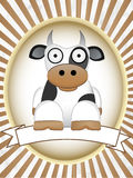 Cartoon Cow blank product label bright oval Stock Image