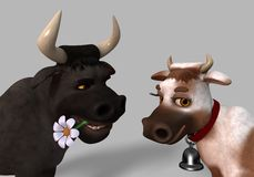 Cartoon Cow and Bull Royalty Free Stock Image