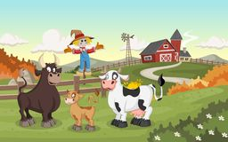Cartoon cow, calf and bull. Farm background Royalty Free Stock Image