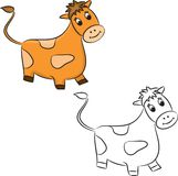 Cartoon cow. Coloring book Royalty Free Stock Image