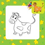Cartoon cow. Coloring page Royalty Free Stock Photo