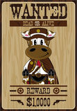 Cartoon Cow Cowboy Wanted Poster Royalty Free Stock Images