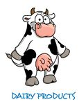 Cartoon cow. Dairy Products emblem with a cute black and white dairy cow standing on its hind legs showing off a pink udder and the words - Dairy products Royalty Free Stock Images