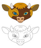 Cartoon cow face -  - with coloring page Royalty Free Stock Photography