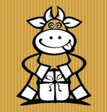 Cartoon cow with gift. Isolated on a striped background Royalty Free Stock Images