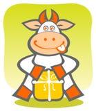 Cartoon cow with gift Stock Photos