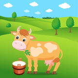 Cartoon Cow In The Green Meadow And A Bucket Of Milk. Background For Label, Sticker, Print, Packing, Web. Royalty Free Stock Images