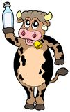 Cartoon cow holding bottle of milk Royalty Free Stock Photography