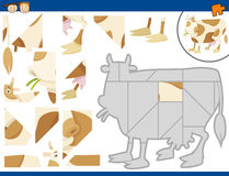 Cartoon cow jigsaw puzzle task Royalty Free Stock Photos