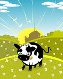 Cartoon cow on the meadow Royalty Free Stock Image