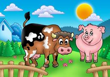 Cartoon cow and pig behind fence. Color illustration Stock Images