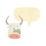 Cartoon cow with speech bubble Royalty Free Stock Photos