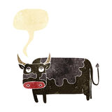 Cartoon cow with speech bubble Stock Photography