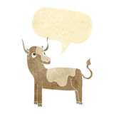 Cartoon cow with speech bubble Royalty Free Stock Photography