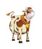 Cartoon cow standing - sleepy or sad - isolated Royalty Free Stock Photos