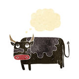 Cartoon cow with thought bubble Royalty Free Stock Photos