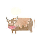 Cartoon cow with thought bubble Royalty Free Stock Photo