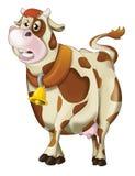 Cartoon cow walking - sleepy or sad - isolated Stock Photos