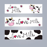 Cartoon cow web banner Royalty Free Stock Photo