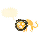 Cartoon cowardly lion with speech bubble Stock Image