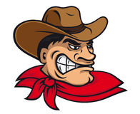 Cartoon cowboy. In hat for mascot design Stock Image
