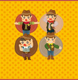 Cartoon cowboy card Stock Photography