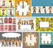 Cartoon cowboy card Stock Image