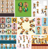 Cartoon cowboy card Stock Image