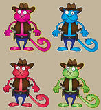 Cartoon cowboy colored cat with gun  illustration Stock Image