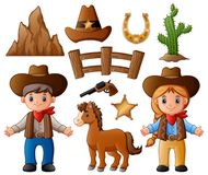 Cartoon cowboy and cowgirl with wild west elements. Illustration of Cartoon cowboy and cowgirl with wild west elements Stock Photo