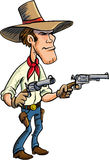Cartoon cowboy drawing guns Stock Photos