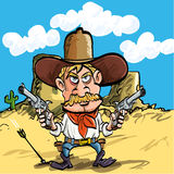 Cartoon cowboy drawing his guns Stock Image