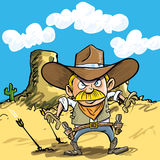 Cartoon cowboy drawing his guns Stock Images