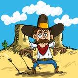 Cartoon cowboy drawing his guns Royalty Free Stock Photo