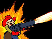 A cartoon cowboy firing a gun Royalty Free Stock Photo