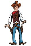 Cartoon cowboy with a gun belt and cowboy hat Stock Image