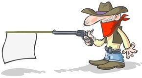 Cartoon cowboy holding a banner gun. vector illustration